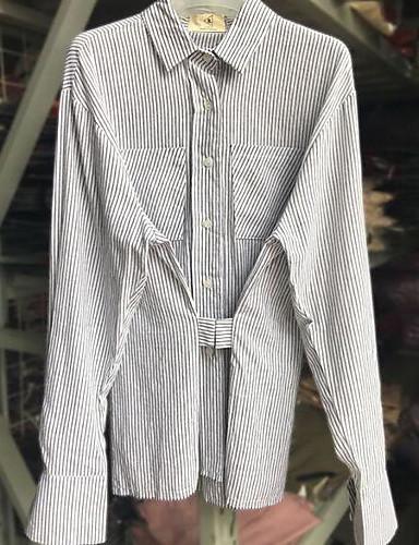 Damen Gestreift Einfach Lässig/Alltäglich Hemd,Ständer Frühling Sommer Langarm Baumwolle Dünn
