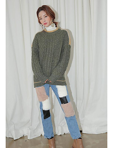 Damen Sexy Hohe Hüfthöhe Mikro-elastisch Jeans Gerade Hose Muster