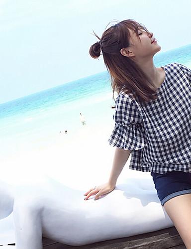 Damen Schachbrett Einfach Lässig/Alltäglich T-shirt,Rundhalsausschnitt Kurzarm Baumwolle Polyester