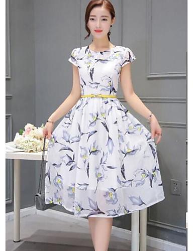 Damen A-Linie Kleid-Lässig/Alltäglich Blumen Rundhalsausschnitt Knielang Kurzarm Andere Frühling Sommer Mittlere Hüfthöhe Mikro-elastisch