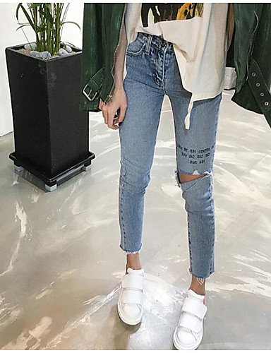 Dámské Jednoduchý Mikro elastické Džíny Kalhoty Štíhlý Mid Rise Písmeno