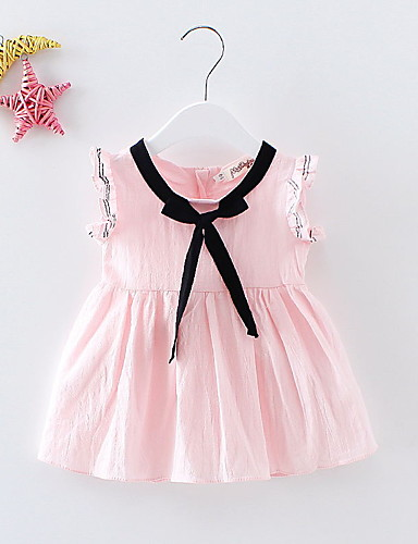 Mädchen Kleid Einheitliche Farbe Baumwolle Sommer Kurzarm