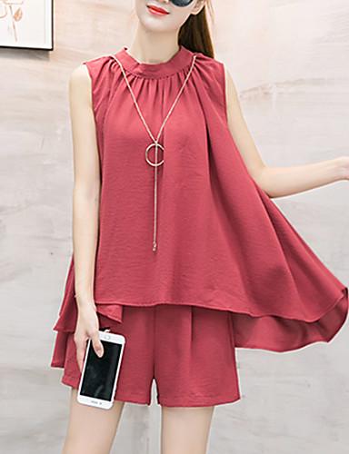 Damen einfarbig Sexy Street Schick Anspruchsvoll Ausgehen Lässig/Alltäglich Strand Bluse Hose Anzüge,Rundhalsausschnitt Frühling Sommer