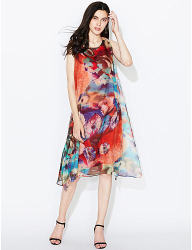 Damen Swing Kleid-Lässig/Alltäglich / Übergröße Street Schick Blumen Rundhalsausschnitt Asymmetrisch Ärmellos Braun Seide / Polyester