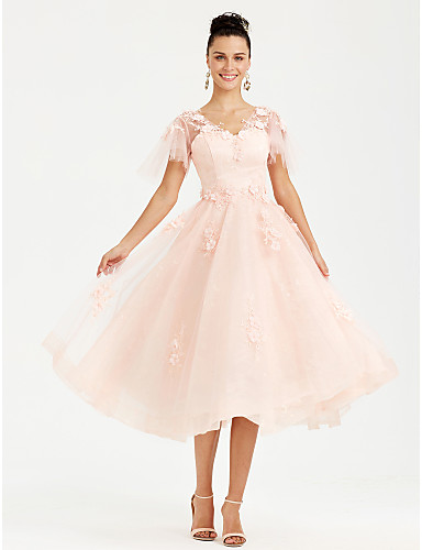 A-Line V Neck Tea Length Tulle See Through Cocktail Party / Prom Dress with Appliques by TS Couture®