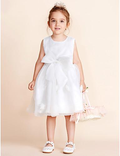 b4db6d14b9864 Top elbisesi kısa / mini çiçek kız elbise - pamuklu organze saten şifon  kolsuz mücevher boyun
