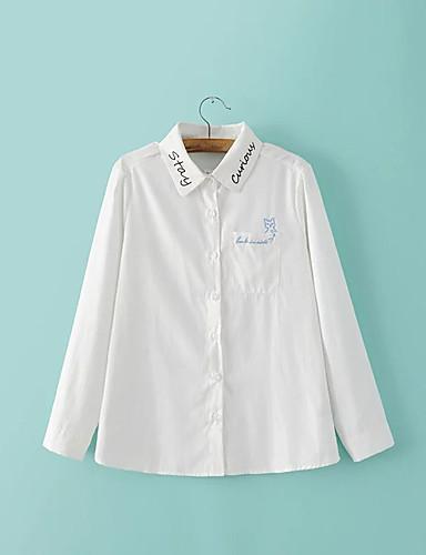 Dámské Jednobarevné Písmeno Jednoduchý Sexy Šik ven Košile-Léto Bavlna Košilový límec Dlouhý rukáv Tenké Střední