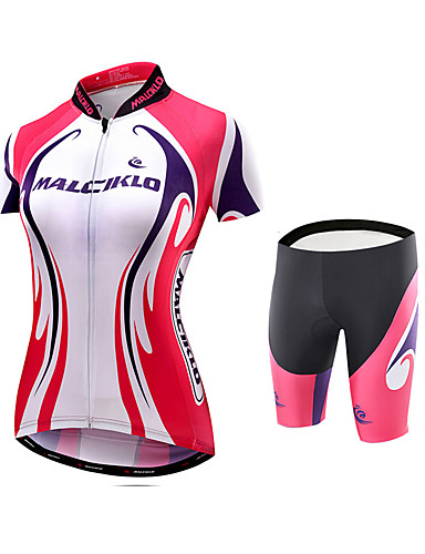 cheap Cycling Clothing-Malciklo Women's Cycling Jersey with Shorts Plus Size Bike Jersey Tights Padded Shorts / Chamois Sports Bamboo-carbon Fiber Coolmax® Elastane Patchwork Mountain Bike MTB Road Bike Cycling Clothing