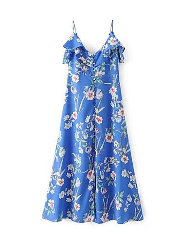 Damen Lose Etuikleid Kleid Einfach Street Schick Blumen Gurt Maxi Ärmellos Seide Baumwolle Sommer Herbst Mittlere Hüfthöhe Mikro-elastisch