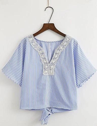 Damen Gestreift Einfach Sexy Street Schick Ausgehen Lässig/Alltäglich T-shirt,V-Ausschnitt Sommer Kurzarm Baumwolle Dünn Mittel