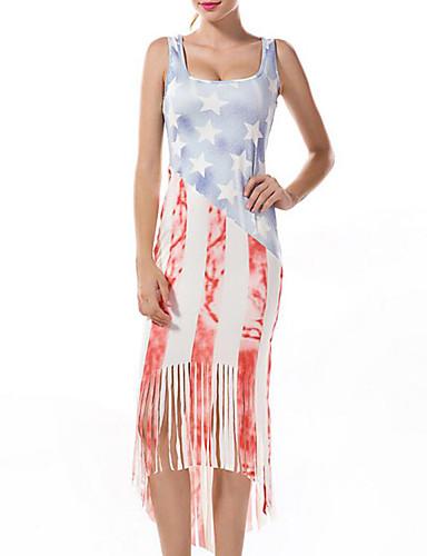 Damen Übergrössen Freizeit Hülle Kleid - Druck Midi
