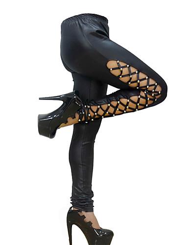 Damen Mittel Lackleder Solide Genähte Spitzen Einfarbig Legging, Schwarz Rote
