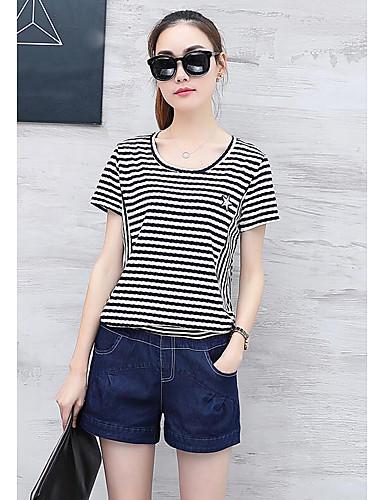 Damen Gestreift Einfach Lässig/Alltäglich T-Shirt-Ärmel Hose Anzüge,Rundhalsausschnitt Sommer Kurzarm Jeansstoff