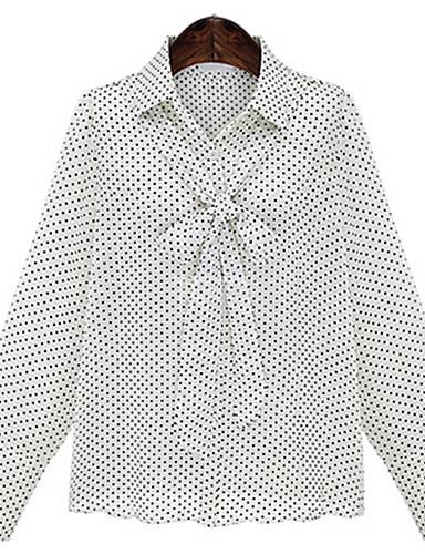 Dámské Geometrický Jdeme ven Jednoduché Košile-Jaro Polyester Košilový límec Dlouhý rukáv Střední