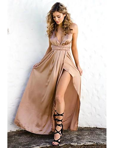 voordelige Maxi-jurken-Dames Uitgaan Street chic Zijde Katoen Ruimvallend Recht Jurk - Effen, Netstof Bandje Maxi Rood Stoffige roos / Sexy