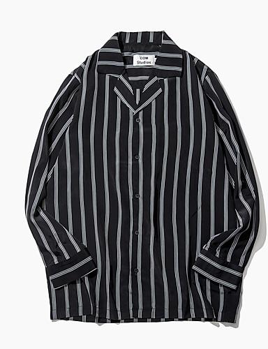 Damen Gestreift Einfach Lässig/Alltäglich Hemd,Hemdkragen Langarm Polyester