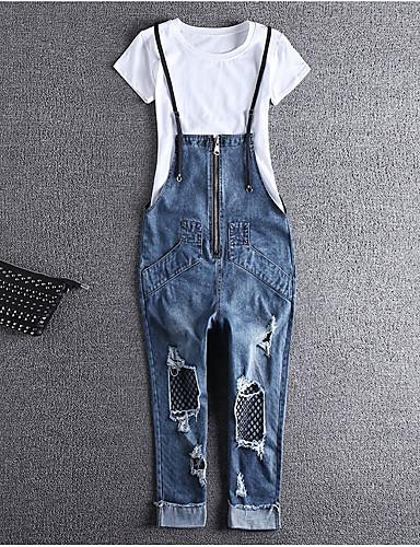 Dámské Jednoduchý strenchy Džíny Montérky Kalhoty Harémové Mid Rise Jednobarevné