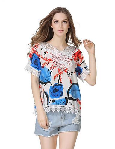 Damen Druck Street Schick Lässig/Alltäglich T-shirt,Rundhalsausschnitt Sommer Kurzarm Polyester Mittel