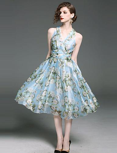 Mulheres Boho Evasê Bainha balanço Vestido - Fashion Estampado, Floral Decote V