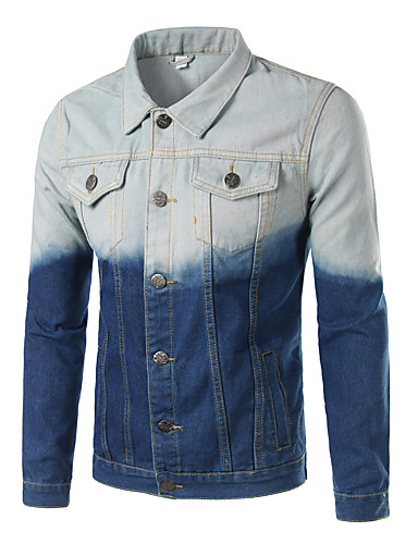Herrn Einfarbig Street Schick Alltag Ausgehen Übergrössen Standard Jacke, Hemdkragen Sommer Herbst Andere Denim