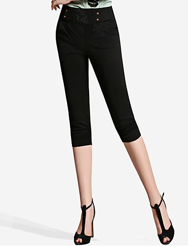 Damen Einfach Hohe Hüfthöhe Mikro-elastisch Chinos Schlank Hose,Reine Farbe Gefaltet Perlenbesetzt einfarbig