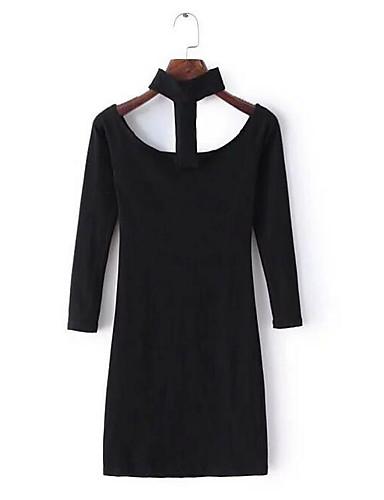Damen Hülle Kleid-Ausgehen Sexy Solide Rundhalsausschnitt Übers Knie Langarm Baumwolle Sommer Mittlere Hüfthöhe Mikro-elastisch Dünn