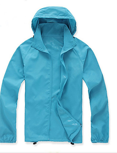 cheap Cycling Clothing-Women's Unisex Solid Color Hiking Windbreaker Outdoor All Seasons Waterproof Lightweight Windproof Breathable Top Polyester Full Length Visible Zipper Camping / Hiking Hiking Climbing Green / Pink