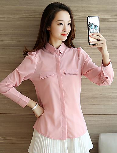 Damen Solide Einfach Lässig/Alltäglich Hemd,V-Ausschnitt Langarm Polyester