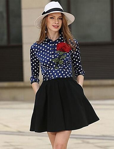Damen Ausgehen A-Linie Kleid Punkt Mini Hemdkragen