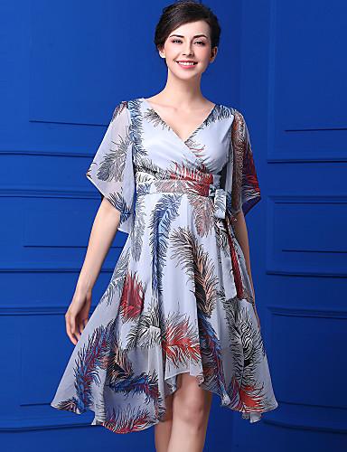 Damen Freizeit Swing Kleid - Druck Chiffon Knielang V-Ausschnitt
