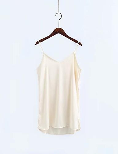 Damen Lose Etuikleid Kleid-Ausgehen Lässig/Alltäglich Einfach Street Schick Solide Gurt Übers Knie Ärmellos Seide Baumwolle Sommer Herbst
