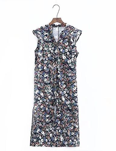Damen Lose Etuikleid Kleid-Ausgehen Lässig/Alltäglich Einfach Street Schick Druck V-Ausschnitt Midi Ärmellos Seide Baumwolle Sommer Herbst
