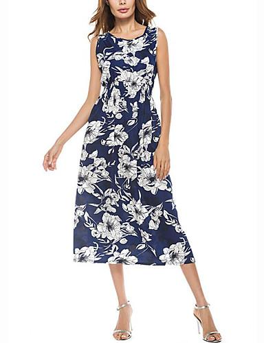 Damen Lose Kleid-Strand Lässig/Alltäglich Retro Anspruchsvoll Blumen Rundhalsausschnitt Midi Ärmellos Polyester Sommer Mittlere Hüfthöhe