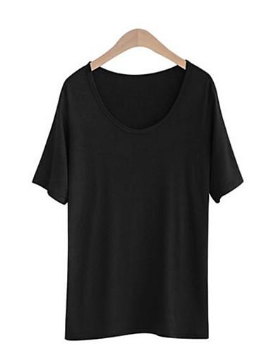 Dámské Jednobarevné Běžné/Denní Dovolená Šik ven Sofistikované Tričko-Léto Bavlna Kulatý Krátký rukáv Tenké