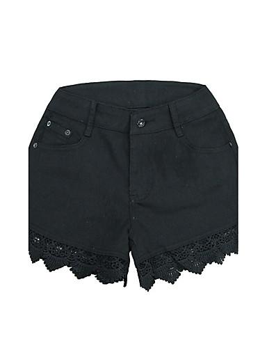 Damen Street Schick Hohe Hüfthöhe Mikro-elastisch Kurze Hosen Gerade Hose einfarbig