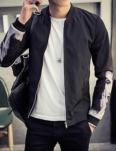 Herren Solide Einfach Lässig/Alltäglich Jacke,Rundhalsausschnitt Frühling Lange Ärmel Standard Polyester