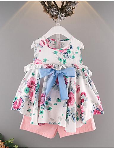 Dívčí Bavlna Polyester Tisk Léto Soupravy,Bez rukávů Sady oblečení