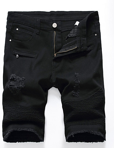 Homens Tamanhos Grandes Delgado Shorts Calças - Sólido, Vazado rasgado