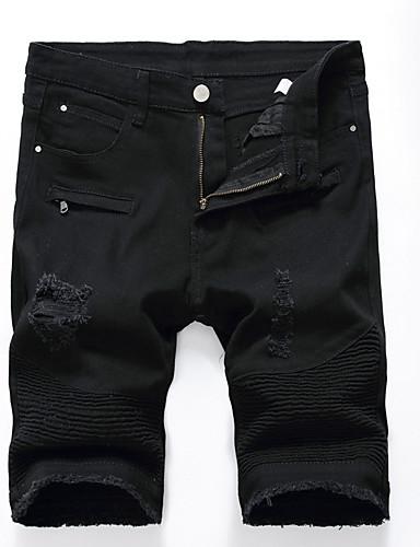 cheap Men's Pants & Shorts-Men's Plus Size Cotton Slim / Shorts Pants - Solid Colored Cut Out / Ripped White / Summer