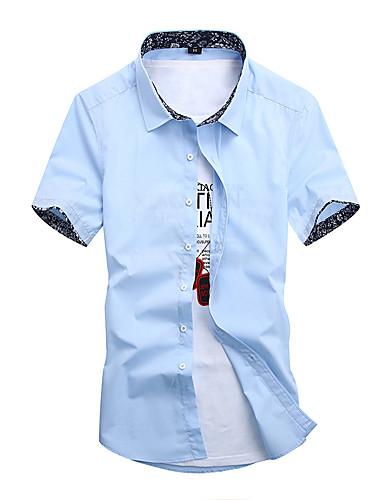 Homens Camisa Social Temática Asiática Sólido