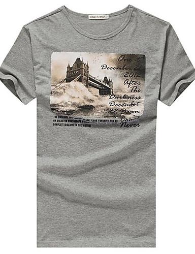 Herrn Freizeit / Aktiv Baumwolle T-shirt, Rundhalsausschnitt Druck / Kurzarm