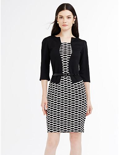 女性用 プラスサイズ ワーク ボディコン ドレス - モダンスタイル, カラーブロック ハイライズ