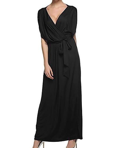 5a716f358599d Women s Daily Casual Maxi Loose Dress - Solid Colored V Neck Summer Cotton  Green White Black XXL XXXL XXXXL