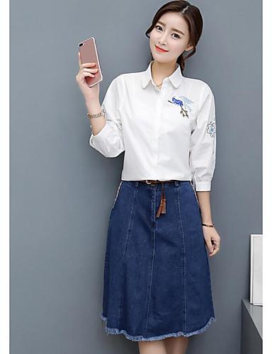 Damen einfarbig Einfach Lässig/Alltäglich Shirt Rock Anzüge,Hemdkragen Sommer Lange Ärmel Mikro-elastisch