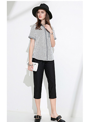 Damen Solide Gestreift Einfach Hemd,V-Ausschnitt Kurzarm Baumwollmischung