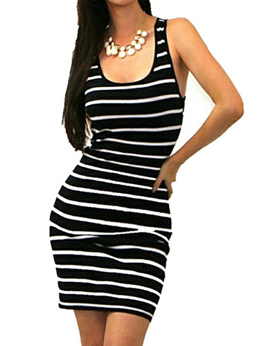 Damen Bodycon Hülle Kleid-Ausgehen Lässig/Alltäglich Urlaub Sexy Einfach Street Schick Gestreift U-Ausschnitt Übers Knie Ärmellos