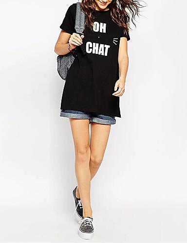Damen Buchstabe Sexy Einfach Street Schick T-shirt,Rundhalsausschnitt Sommer Kurzarm Baumwolle Dünn Mittel