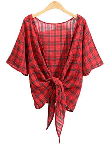 Damen Verziert Einfach Lässig/Alltäglich Übergröße Hemd,Kapuze Sommer Kurzarm Baumwolle Kunstseide Dünn