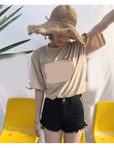 Dámské Jednoduchý Není elastické Kraťasy Kalhoty Široké nohavice High Rise Jednobarevné