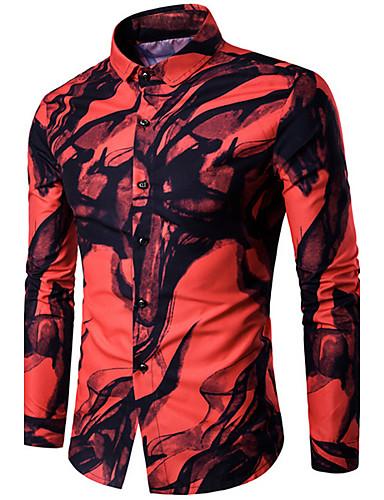 Men's Casual Shirt,Print Shirt Collar Long Sleeves Cotton
